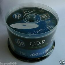 50 HP 16X CD-R WHITE InkJet Printable Blank empty Media Spindle 700MB box cake