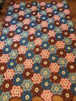 Vintage Crochet Star Flowers Afghan Blanket Throw Farmhouse Cottage Chic