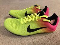 NWOB Nike Zoom D OC Distance Track Spikes Men's 7.5 Neon Yellow Pink