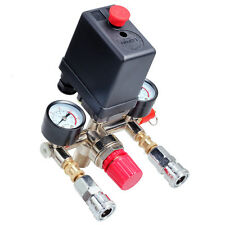 Air Compressor Pressure Switch Manifold Regulator Gauge Quick Coupler 90-120PSI