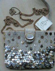 NWT Mary Frances Mother of Pearl Button 'LOST COVE' Beach-y Mini Wristlet Purse