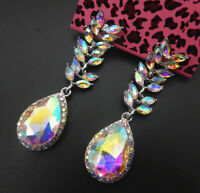 Betsey Johnson AB Crystal Rhinestone Leaf Teardrop Dangle Earrings