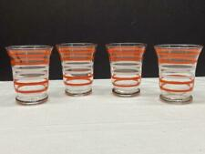 4 Vintage Mid Century Orange and White Striped Juice Glasses ~ Drinking