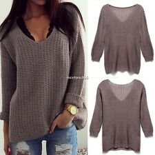 Women Winter Vintage Long Sleeve Loose Warm Pullover Jumper Knit Sweater CG