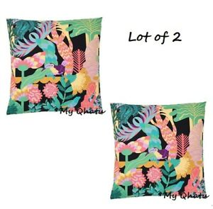 "Set of 2 - IKEA NABBFLY Cushion cover 20 x 20"" Multicolor Tropical Jungle New"