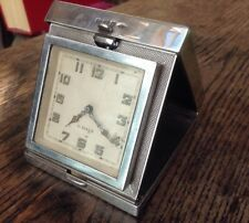 1930s Solid Silver Bedside Clock With Buren Goliath Watch Type 8 Day Movement