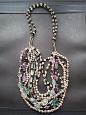 MULTI-STRAND PINK PEARL AQUAMARINE BLACK ONYX FLUORITE STERLING SILVER NECKLACE