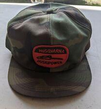 Vintage Husqvarna HUSKIPOWER Camo K Brand Trucker Hat Cap Snapback NOS