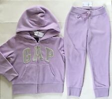 GAP Kids 2 pc Set Sequin Logo Pro Fleece Hoodie & Pants Purple XS 4 5 NWT $60
