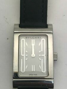 Authentic BVLGARI Rettangolo RT39S Ladies Quartz White Dial not working AS IS