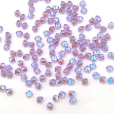 144 Swarovski 5328 Crystal XILION Bicone Beads Jewelry Making 4mm VIOLET AB 2x