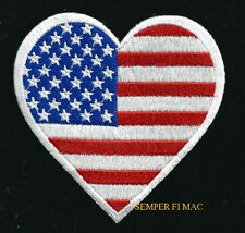 HEART I LOVE THE USA FLAG HAT VEST PATCH US STARS N STRIPES PIN UP US QUILT GIFT