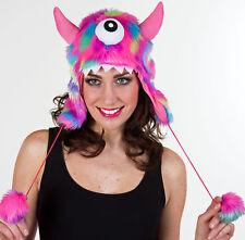 lustige pink bunte Monstermütze Mütze Plüschmütze Karneval