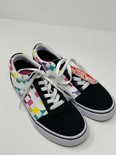 Vans Old Skool Rainbow Checkered Lace Up Sneaker Shoes Womens 6