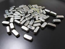 150pcs 12mm Acrylic Rectangular Tube Beads - SILVER PLATED Seamless