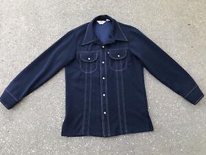 Vintage 70s Levis Panatela Leisure Suit Disco Jacket M Navy Blue