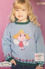 KNITTING PATTERN Girls Princess Holly Motif Jumper Ben & Hollys Kingdom Sweater