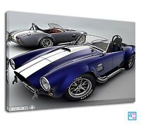 Exotic vintage sports car blue 1965 shelby cobra Canvas Wall Art Picture Print