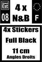 Stickers Full Black 11cm x 4,5 Angles droits logo F+ logo noir et blanc  n°08