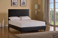 BLACK Leather QUEEN Size Platform Bed Frame & Slats Modern Home Bedroom NEW