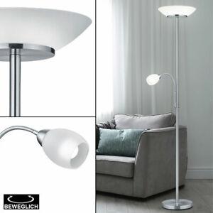 Lámpara de Pie Blanco Estar Cristal Reflector Salón Habitación Techo Móvil