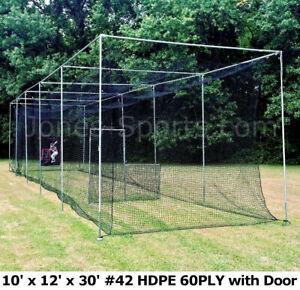 Batting Cage Net 10' x 12' x 30' #42 HDPE (60PLY) with Door Heavy Duty Baseball