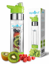 Aquafrut Bottom Loading Fruit Infuser Water Bottle (24oz, Green) USA Seller!