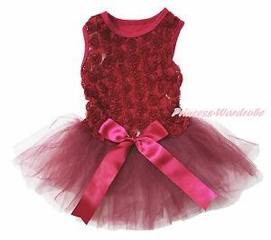 Wine Red Romantic Rose Sleeveless Bow Gauze Skirt Pet Dog One Piece Dress Outfit