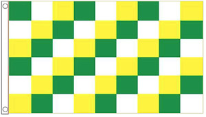 GREEN YELLOW and WHITE CHECKERED FLAG 5' x 3' Check Offaly County GAA Football