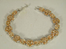 se 925 Sterling Silver Bracelet: Beautiful Honey Morganite Oval&Round&Marqui