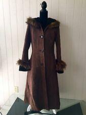 NWOT Light Weight Spanish Merino Fox Trim  Mouton Dark Brown  Fur Coat  sz M
