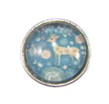 Noosa Style Chunks Mini Snap Button Charms Ginger Snaps Reindeer Aqua 12mm