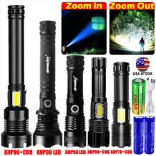 990000LM COB XHP90 XHP50 LED Super Bright Flashlight Rechargeable Zoomable Torch