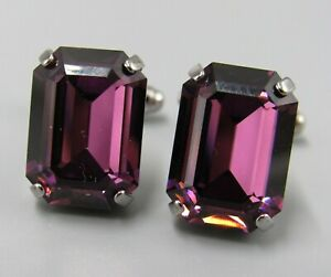 Mens Vintage FACETED PRONG SET PURPLE CRYSTAL CUFFLINKS Costume Jewelry V78