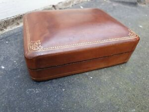 VINTAGE MADE IN ITALY BROWN LEATHER DESK TABLE CUFFLINKS MIXED JEWELLERY BOX