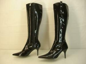 Women's 7 M BCBGMAXAZRIA Black Patent Leather Knee High Boots Kinky Pointed Toe