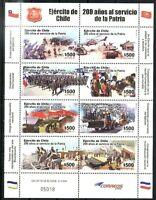#726 CHILE 2010 MILITARY CHILEAN ARMY BICENTENARY MINISHEET YV 1968-75 MNH
