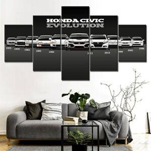 Honda Civic Car Evolution 5 Panel Canvas Print Poster Wall Art Home Decor
