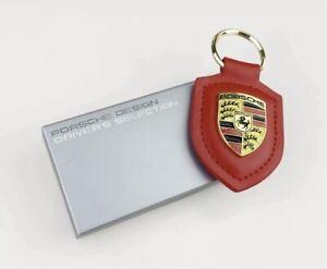 Red Porsche Leather Crest Key chain new in Box