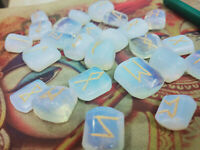 Opalite Engraved Rune Stone Set, with Runic Symbols Chart  and Cloth Bag