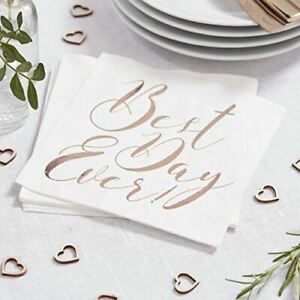 Gold 'Best Day Ever' Napkins   Engagement Hen Party Wedding Gold Tableware x20