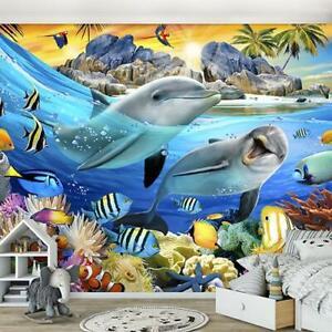 Vlies Fototapete XXL Kinderzimmer Ozean Unterwasserwelt Delphine Kinder Fische 4