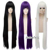 Lolita 100cm Black/Purple/White Long Straight Heat Resistant Anime Cosplay Wig