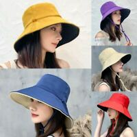 Women Sun Hat Bucket Hat Reversible Double Sided UV Protection Summer Cap