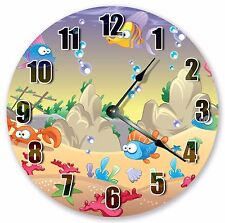 "10.5"" UNDER THE SEA NURSERY KIDS CLOCK Large 10.5"" Wall Clock - Home Decor 3336"