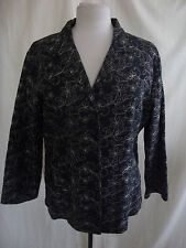 "Ladies Jacket - Anne Carson, size XL 44"" bust, black/beige, floral stitch - 1784"