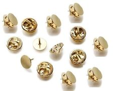 GOLD TIE TACK LAPEL PIN 10mm FLAT PAD with CLUTCH 288 sets