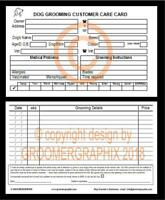 DOG GROOMING 100 CUSTOMER CARE RECORD CARDS stationery by GROOMERGRAPHIX