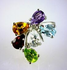 Genuine Multi-Color Pear Shape Gemstones Ring 925 SS Sterling Silver Size 6