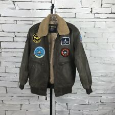 Top Gun U.S Wings Leather Bomber Jacket Tomcat Maverick Xlarge Full Zip GUC